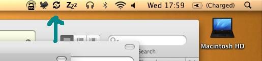 ChronoSync background scheduler in the menubar