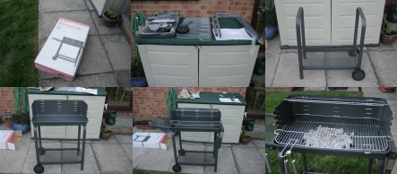 Photos of building a barbecue.