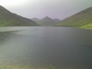 The Silent Valley reservoir.  In the rain.