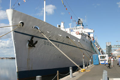 MV Doulos berthed in Leith, Edinburgh.